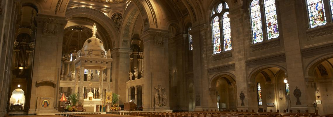View of the Basilica nave and sanctuary
