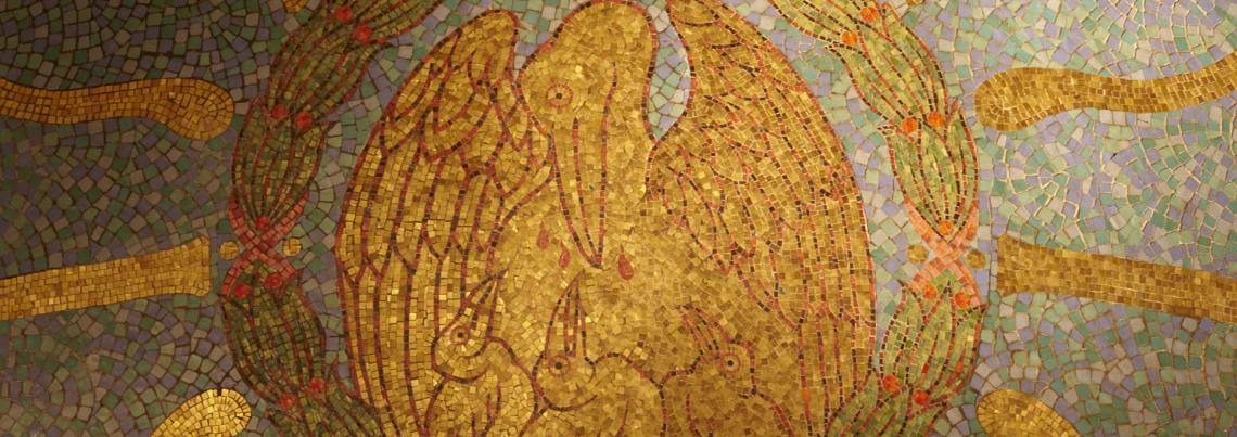 Mosaic of a mother pelican and her chicks