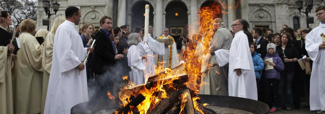 Easter Vigil Bonfire at the Basilica of St. Mary