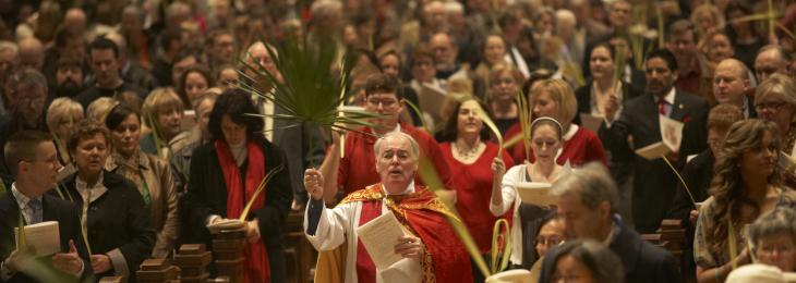 Photo Interior People Sacrament Event Basilica Palm Sunday