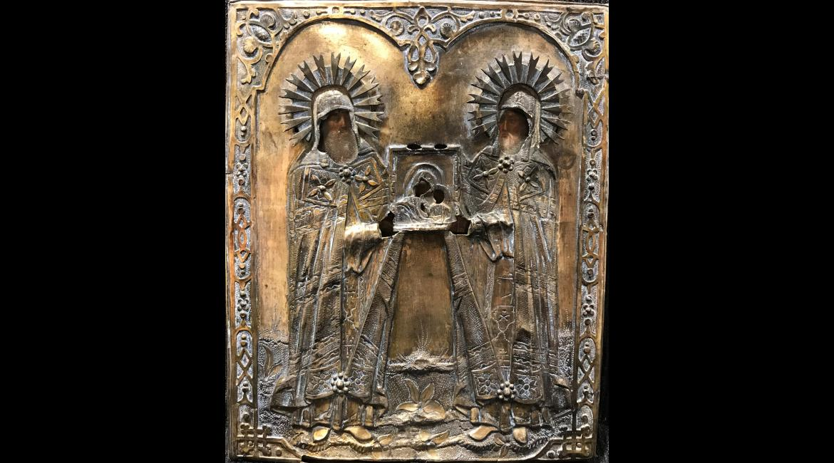 """Holy Martyrs Blaise and Andrew Stratelates are standing in prayer before the """"Vladimir"""" Icon of the Mother of God"""