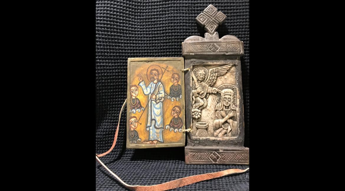 Resurrection and Annunciation, traveling Icon, stone and wood