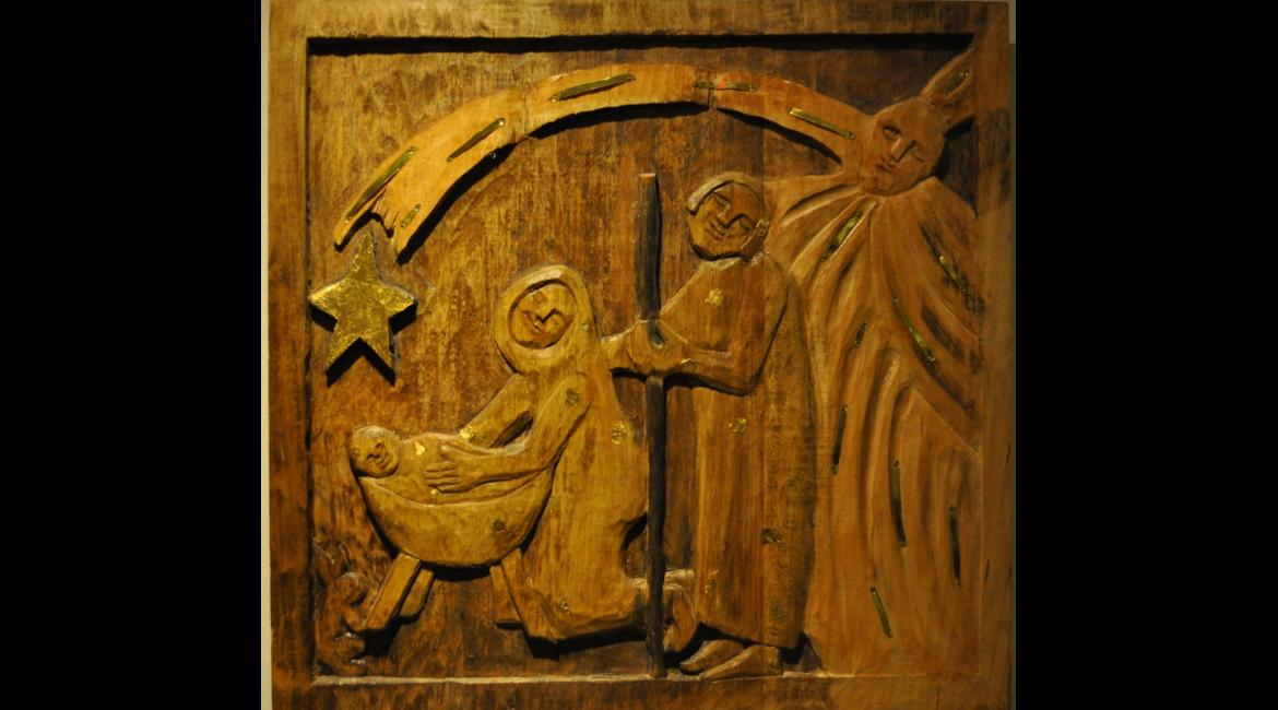 Carved wall hanging, Mary Ann Osborne, SSND
