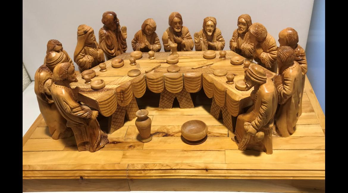 Last Supper, carved olivewood