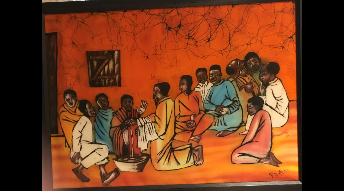 Washing of Feet, batik, Felix Msalu
