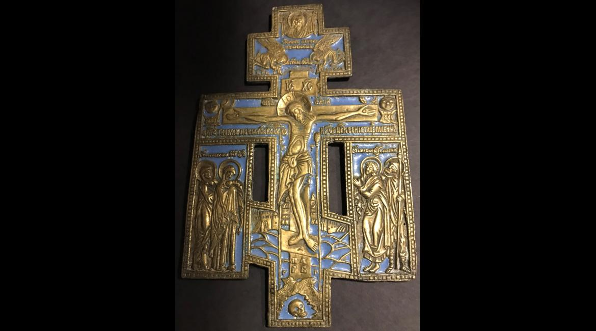 Crucifixion, enamel cross