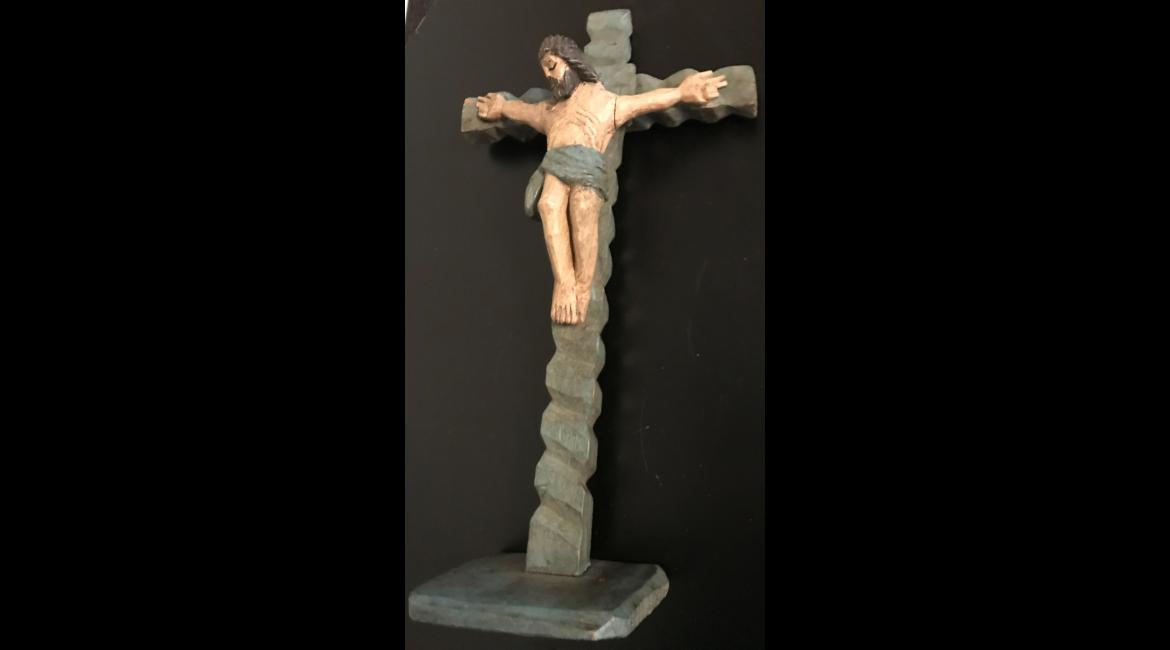 Crucifixion, carved wood, Central America